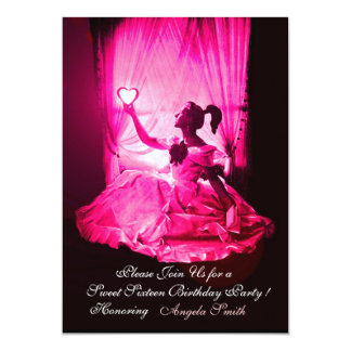 "SWEET 16 BIRTHDAY PARTY,PINK FUCHSIA BLACK DAMASK 5"" X 7"" INVITATION CARD"