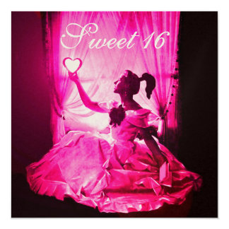 "SWEET 16 BIRTHDAY PARTY,PINK FUCHSIA BLACK DAMASK 5.25"" SQUARE INVITATION CARD"