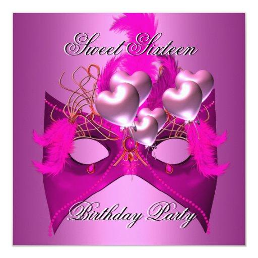 Sweet 16 Birthday Party Pink Mask Balloons Custom Invitations