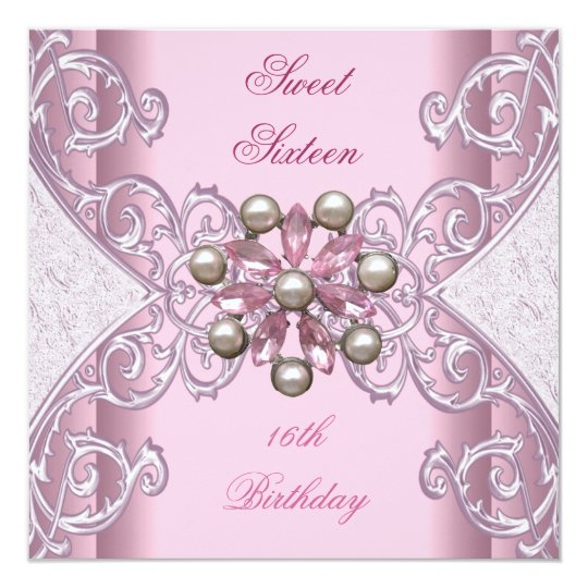 Sweet 16 Birthday Party Pretty Soft Pink Pearl Card