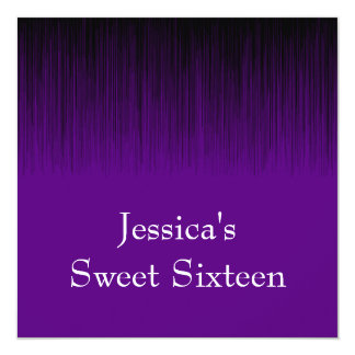 Sweet 16 Birthday Party Purple Black Static Card
