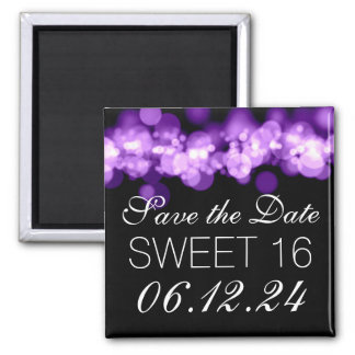 Sweet 16 Birthday Party Purple Bokeh Lights 2 Inch Square Magnet