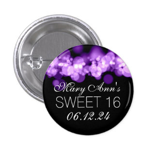 Sweet 16 Birthday Party Purple Bokeh Lights 1 Inch Round Button