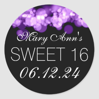 Sweet 16 Birthday Party Purple Bokeh Lights Classic Round Sticker