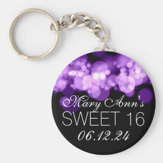 Sweet 16 Birthday Party Purple Bokeh Lights Keychain