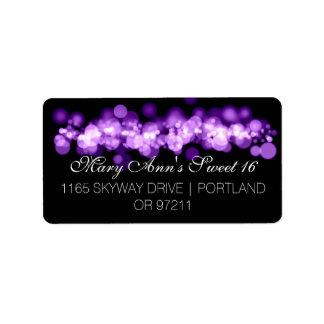 Sweet 16 Birthday Party Purple Bokeh Lights Label