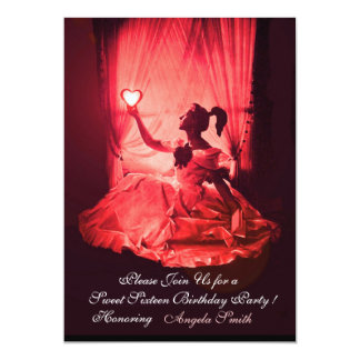 SWEET 16 BIRTHDAY  PARTY RED BLACK DAMASK CARD