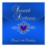 Sweet 16 Birthday Party Royal Blue Gem Velvet Announcement