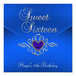 Sweet 16 Birthday Party Royal Blue Gem Velvet 5.25x5.25 Square Paper Invitation Card