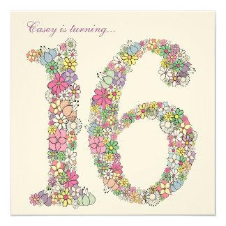 Sweet 16 Birthday Party Spring Bloom Invitation