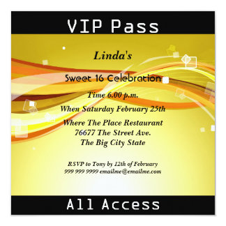 Sweet 16 Birthday Party VIP pass Disco Card