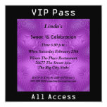"Sweet 16 Birthday Party VIP pass Purple 2 5.25"" Square Invitation Card"