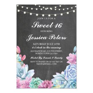 Sweet 16 Birthday Pastels Succulents Rustic Invite