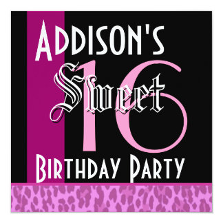 Sweet 16 Birthday Pink and Black Leopard G803 Card