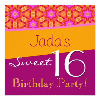 Sweet 16 Birthday Pink and Gold Flowers T562 Card