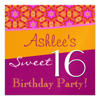 Sweet 16 Birthday Pink and Gold Flowers W828A Card