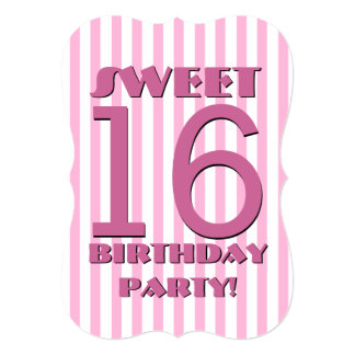 Sweet 16 Birthday Pink and White Stripes V06 Card