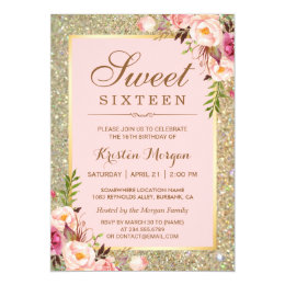 Sweet 16 invitations zazzle sweet 16 birthday pink floral gold glitters card solutioingenieria Images