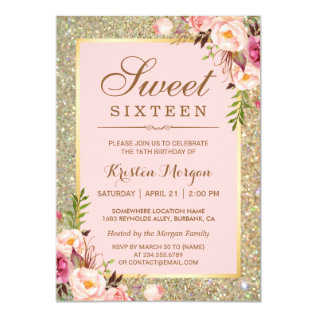 Sweet 16 Birthday | Pink Floral Gold Glitters Card at Zazzle