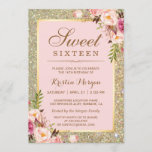 """Sweet 16 Birthday   Pink Floral Gold Glitters Invitation<br><div class=""""desc"""">Create your perfect invitation with this pre-designed templates, you can easily personalize it to be uniquely yours. For further customization, please click the """"customize further"""" link and use our easy-to-use design tool to modify this template. If you prefer Thicker papers / Matte Finish, you may consider to choose the Matte...</div>"""