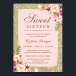 "Sweet 16 Birthday | Pink Floral Gold Glitters Invitation<br><div class=""desc"">Pink Floral Gold Glitter Sweet Sixteen Birthday Invite Card.  (1) For further customization,  please click the &quot;customize further&quot; link and use our design tool to modify this template.  (2) If you need help or matching items,  please contact me.</div>"