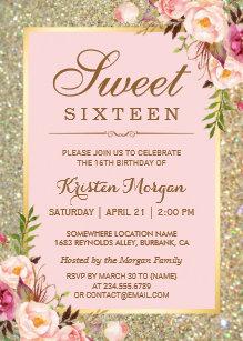 Birthday invitations zazzle sweet 16 birthday pink floral gold glitters invitation stopboris Choice Image