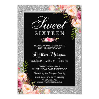 Sweet 16 Birthday | Pink Floral Silver Glitters Card