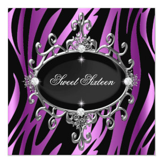 Sweet 16 Birthday Pink Purple Zebra Black Stripe 5.25x5.25 Square Paper Invitation Card