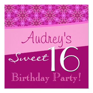 Sweet 16 Birthday Pink Star Flowers T563 Card