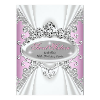 Sweet 16 Birthday Princess Pink Diamonds Large Card