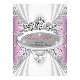 Sweet 16 Birthday Princess Pink Diamonds Large Invitation