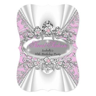 Sweet 16 Birthday Princess Pink Diamonds Tiara 3 5x7 Paper Invitation Card