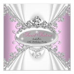 Sweet 16 Birthday Princess Pink Diamonds Tiara 5.25x5.25 Square Paper Invitation Card