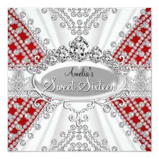 Sweet 16 Birthday Princess Red Diamonds Invite