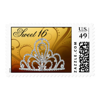 Sweet 16 Birthday Princess Tiara Postage (gold)