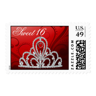 Sweet 16 Birthday Princess Tiara Postage red