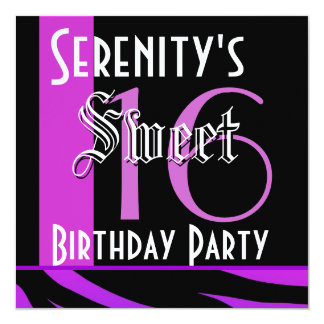 Sweet 16 Birthday Purple and Black Tiger 905 Card