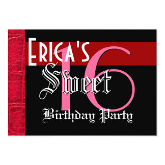 Sweet 16 Birthday Red and Black Crocodile G950 Card