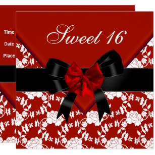 Red Black Gold Sweet 16 Invitations Zazzle