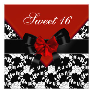 Sweet 16 Birthday Red Black White Floral Bow Personalized Invite