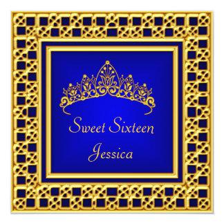 Sweet 16 Birthday  Royal Blue Gold Silver Tiara 5.25x5.25 Square Paper Invitation Card