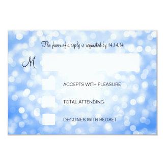 Sweet 16 Birthday RSVP Blue Glitter Lights 3.5x5 Paper Invitation Card