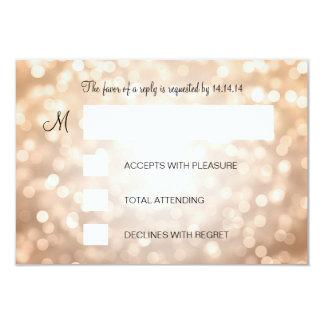Sweet 16 Birthday RSVP Copper Glitter Lights 3.5x5 Paper Invitation Card