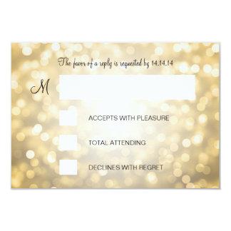 Sweet 16 Birthday RSVP Gold Glitter Lights 3.5x5 Paper Invitation Card