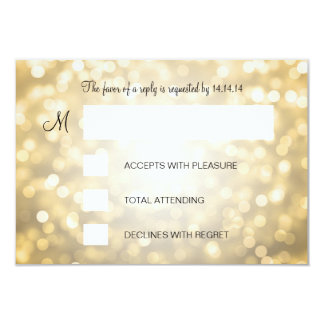 Sweet 16 Birthday RSVP Gold Glitter Lights Card