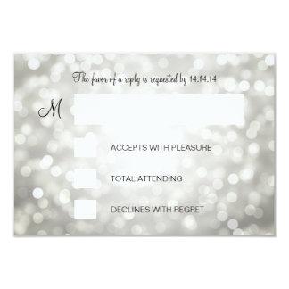 Sweet 16 Birthday RSVP Silver Glitter Lights 3.5x5 Paper Invitation Card
