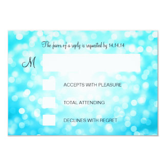 Sweet 16 Birthday RSVP Turquoise Glitter Lights Card