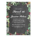Sweet 16 Birthday Rustic Chalk Foliage Invite