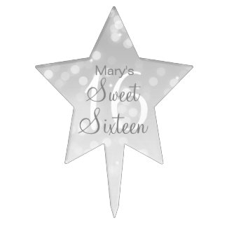 Sweet 16 Birthday Silver Bokeh Sparkle Lights Cake Topper