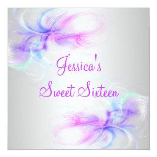 Sweet 16 Birthday Silver & Pink Purple Blue Swirls Card